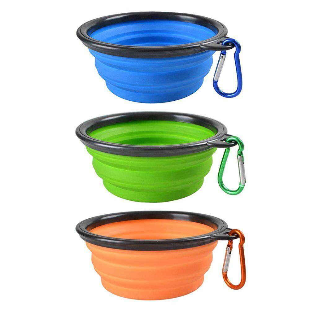3pcs Collapsible Dog Cat Pet Bowls, Food Grade Silicone Bpa, Dishwasher Safe, Perfect Foldable & Expandable, Travel Pet Bowls For Journey, Hiking, Kennels& Camping-Blue + Green + Orange By Yomichew.