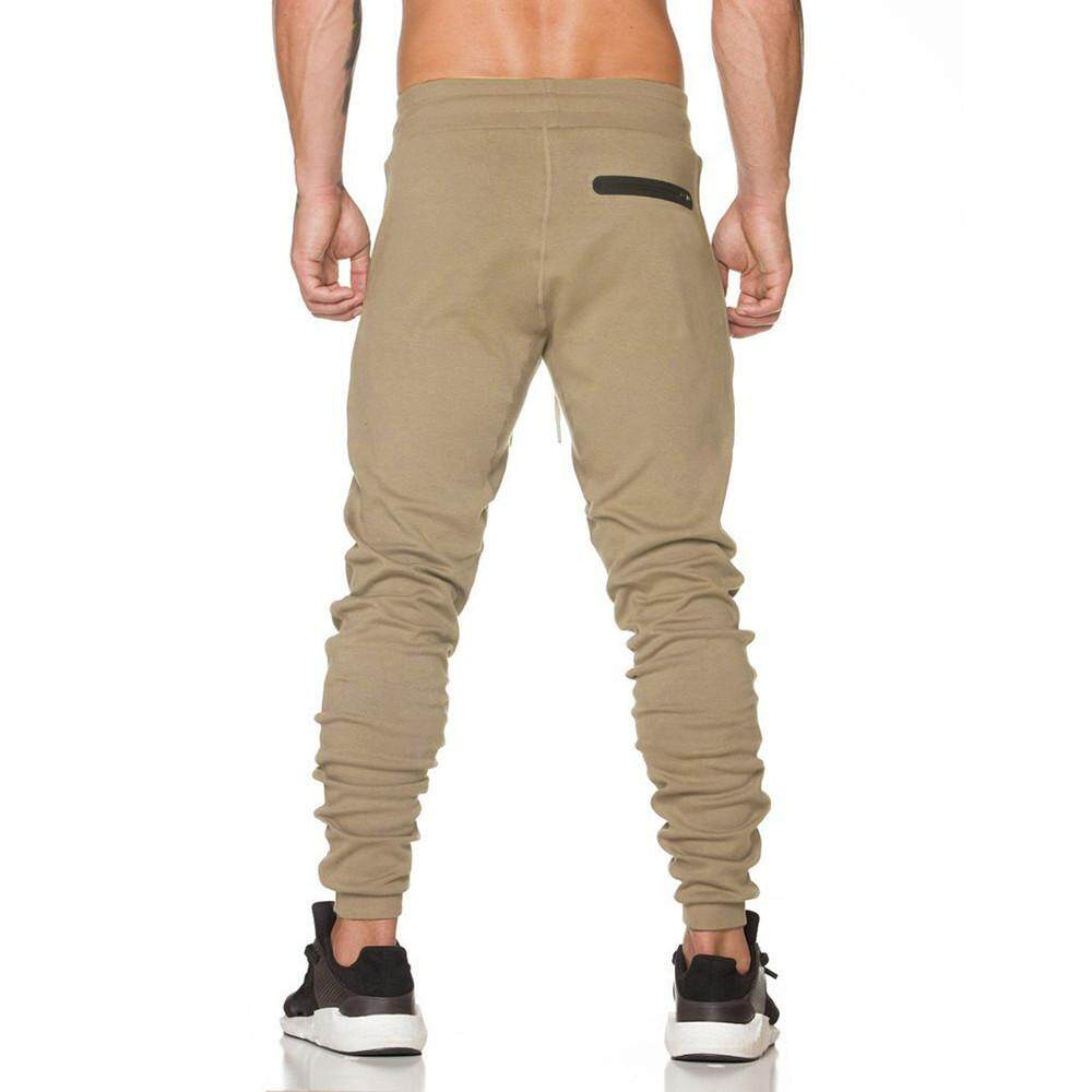 Bigskyie Men Trousers Sweatpants Slacks Casual Elastic Sportwear Baggy Jogging Pants