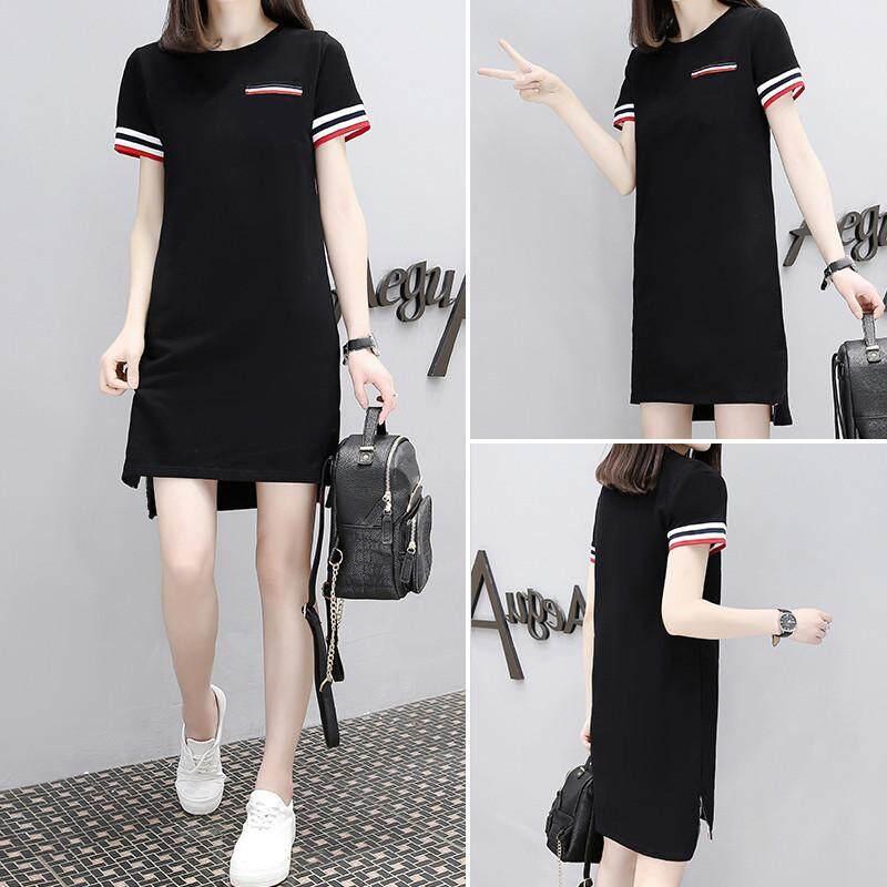 c0edee033cc 2019 New Loose Large Size Temperament Short Short Long Flower Skirt Dress  Summer Long Paragraph A