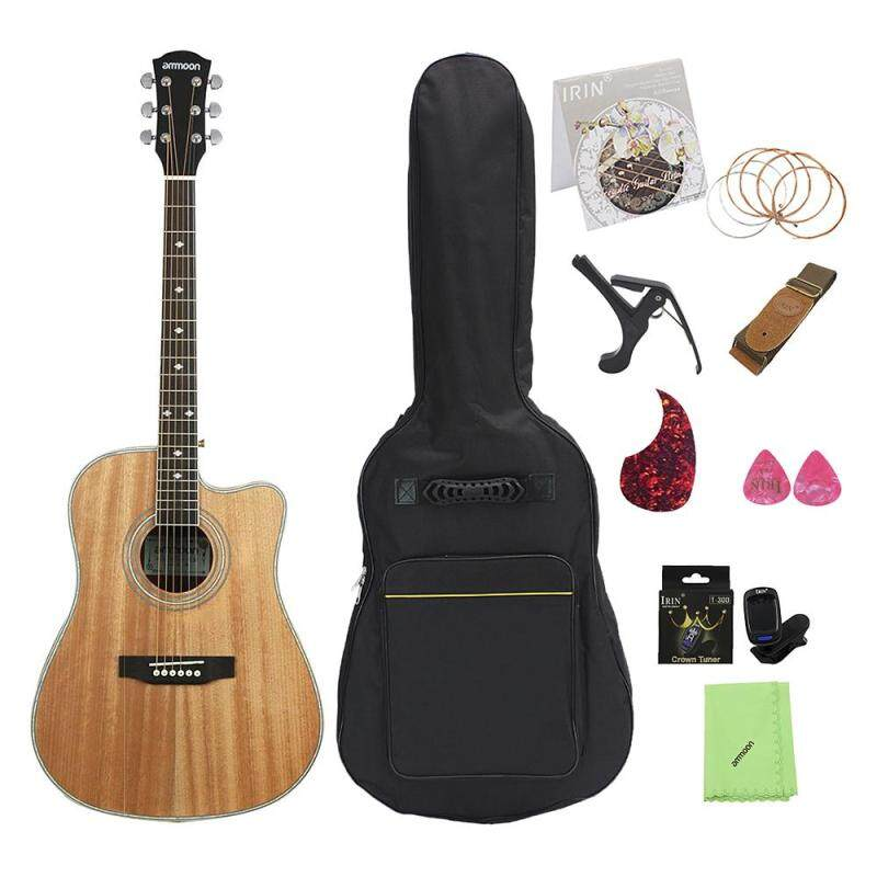 41 Cutaway Acoustic Folk Guitar Sapele Body Rosewood Fingerboard with Gig Bag Capo Tuner Cleaning Cloth Strings Guitar Strap Pickguard Picks Malaysia