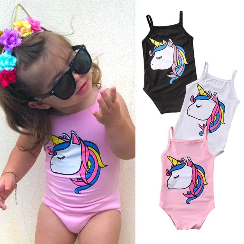 9550d5a9fdcb8 Newborn Kid Baby Girl Unicorn Swimwear One-piece Swimsuit Bathing Beachwear