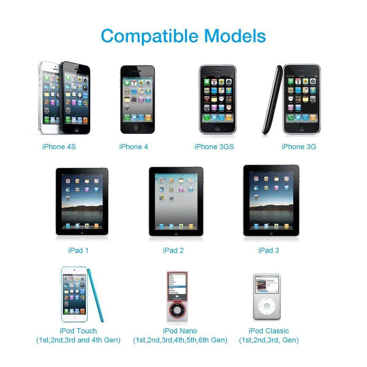 6 USB SYNC CHARGER CABLE CONNECTOR IPHONE 4 3GS 3G IPAD