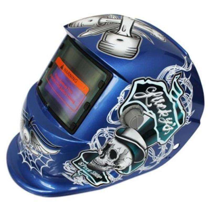 SOLAR ENERGY AUTOMATIC CHANGEABLE LIGHT ELECTRIC WELDING PROTECTIVE HELMET WITH PIRATE PATTERN (BLUE)