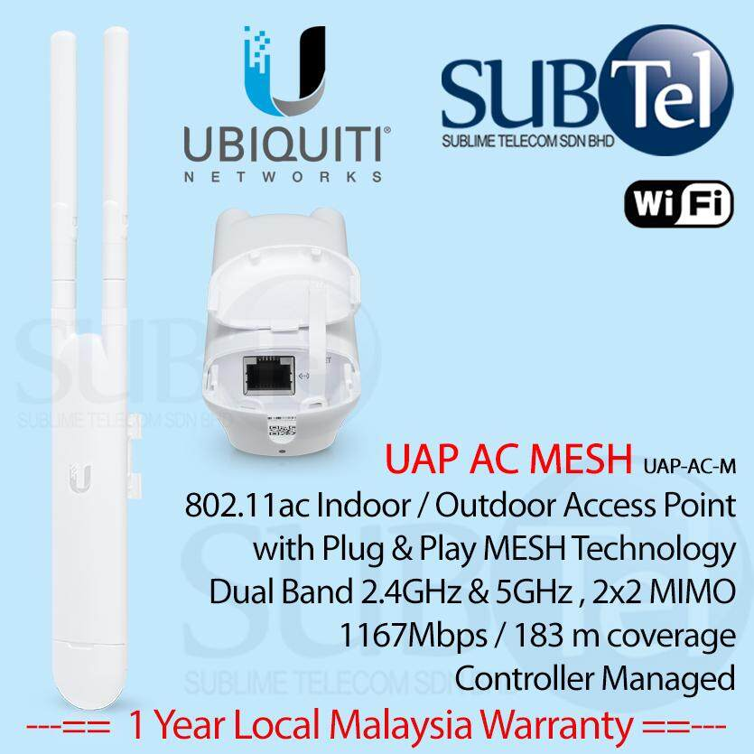 UAP-AC-M Ubiquiti Networks UAP AC Mesh Outdoor WiFi AP Pole Wall mount Dual  Band 2x2 MIMO 2 4Ghz 5Ghz with coverage of 183m & Plug and Play Mesh
