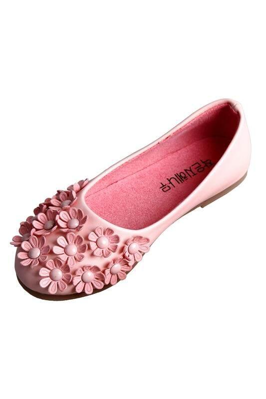 c1dd10cc84 Pink Children Shoes Girls Shoes Princess Girls Fashion Single Shoes Lovely  PU Flower Floral kids Shoes Soft Sole leather Flat US8.5=EU25=CN26=long16cm