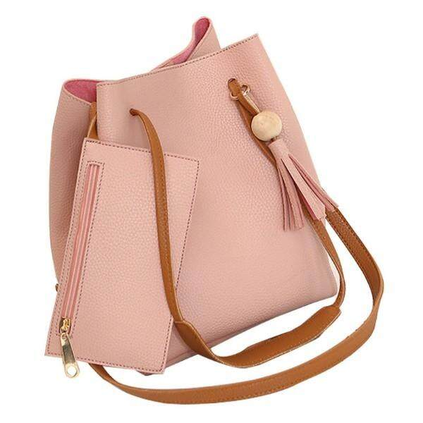 Al Sahhia Ready Stock Pearl 2 in 1 Sling Bucket Handbag+ Small Purse Leather Bag