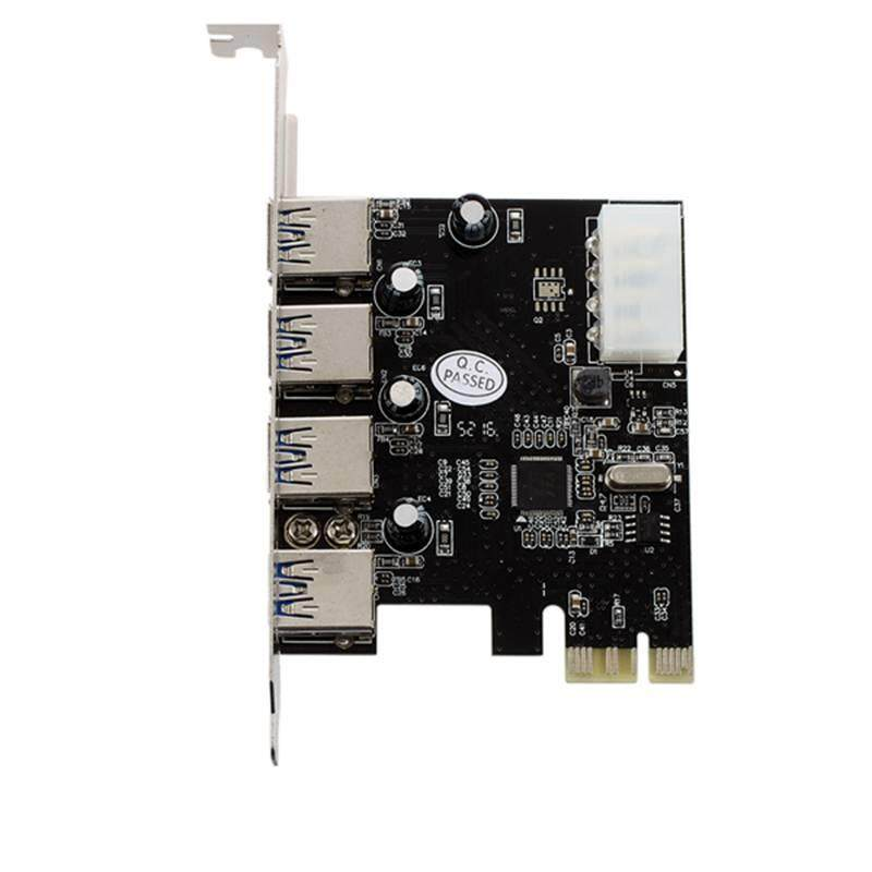 e47d96660453 FAST USB 3.0 PCI-E PCIE 4 PORTS Express Expansion Card Adapter