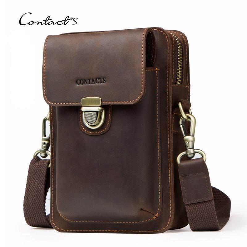7d5005279c803 Men Waist Pack Genuine Leather Vintage Travel Cell Phone Bag men s fanny  pack Shoulder Bag with