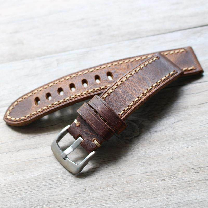 Handmade Complex Discount Cow Leather Watch Strap Natural 20 22 24 Mm Oily Vegetable Tanning Army Style Watch Table Mountain Leather Watch Strap Malaysia