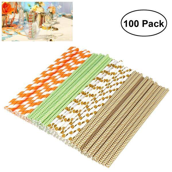 Bestome 100pcs Paper Straws Dot Striped Wave Drinking Decoration Straws For Birthday Wedding Christmas Party By Eshopdeal.