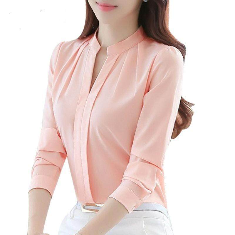 e1549a8455d Spring Autumn Women Tops Long Sleeve Casual Chiffon Blouse Female V-Neck  Work Wear Solid Color White Office Shirts For Women