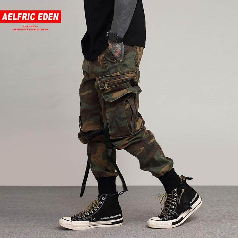ab7fe1e6ab Aelfric Eden Casual Pants Men Black Camouflage Cargo Pants Ribbons Hip Hop  Pockets 2018 Spring Joggers