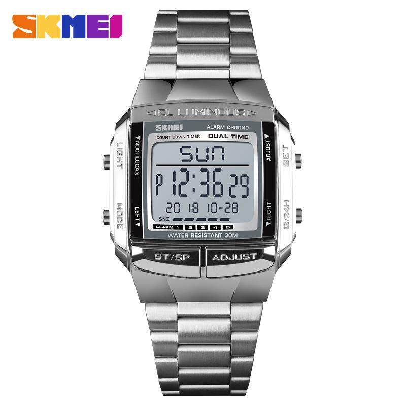 SKMEI 1381 Men Watch Double Time Square Countdown Stainless Steel Digital Business Chrono Wrist Watch Waterproof Malaysia