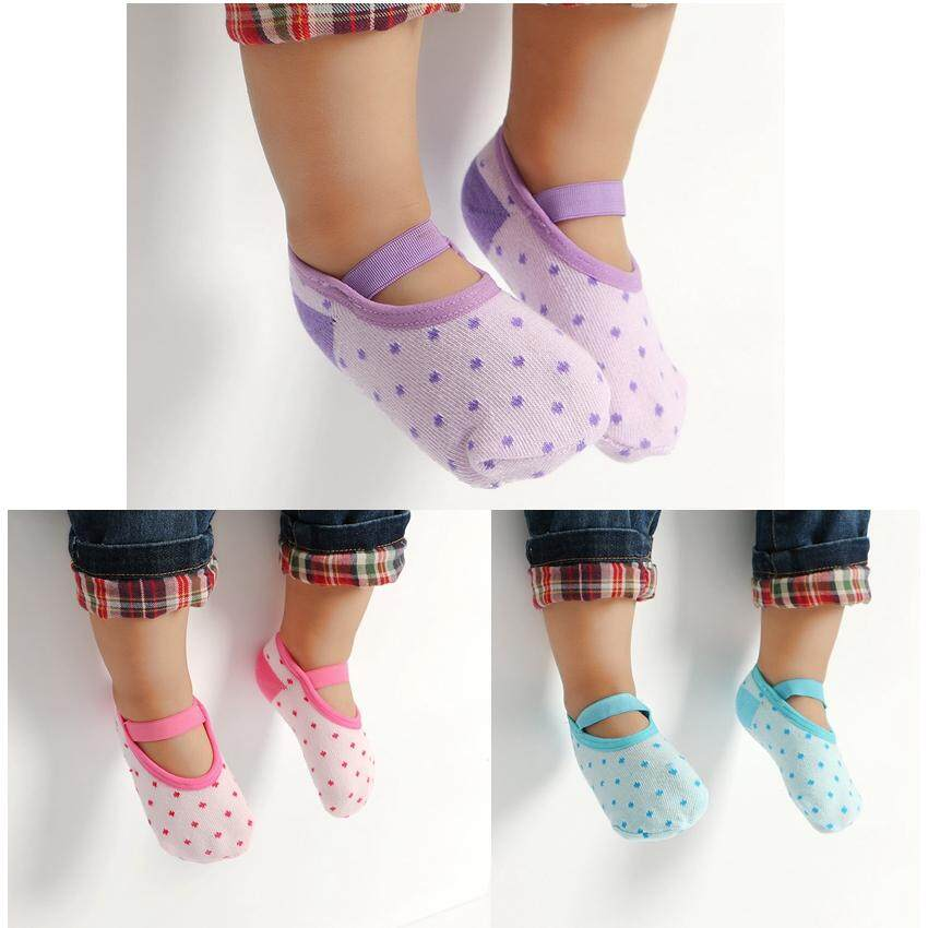 3 Pairs Cotton Baby Girls Slip-Resistant Floor Socks For Summer By Yihe Store.