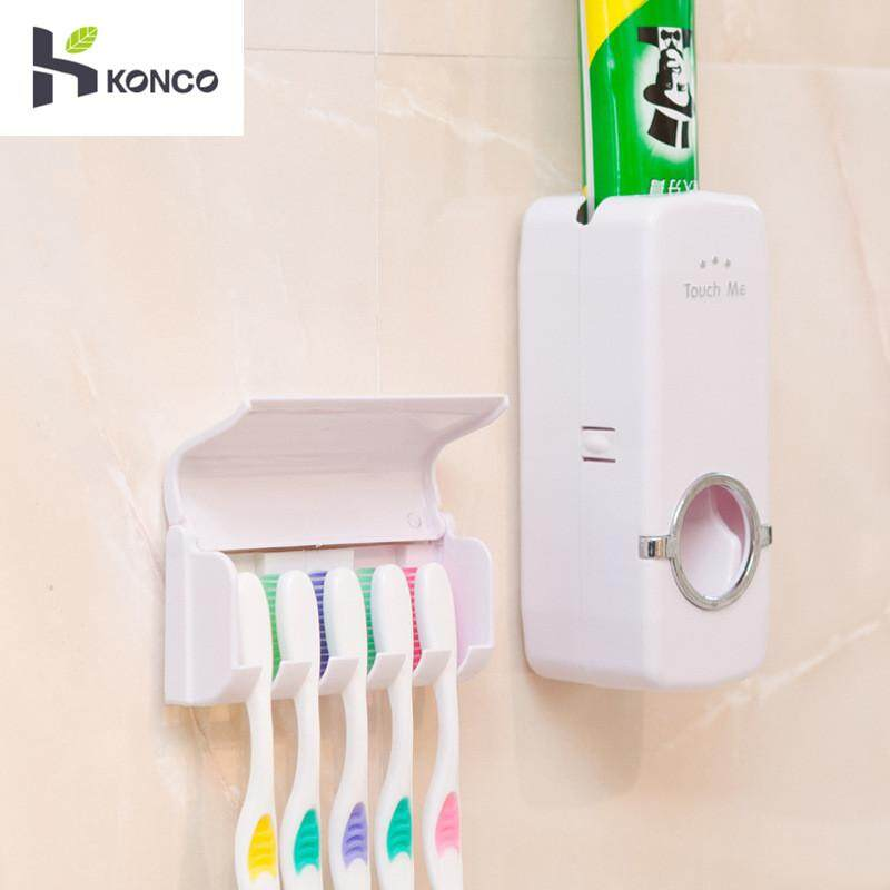 Konco Tooth Paste Squeezer Dispenser With Toothbrush Holder Bathroom Products Automatic Set Tooth Brush Accessories, Hands Free Toothpaste Dispenser Automatic Toothpaste Squeezer And Holder Set- 5 Brush Holder By Konco.