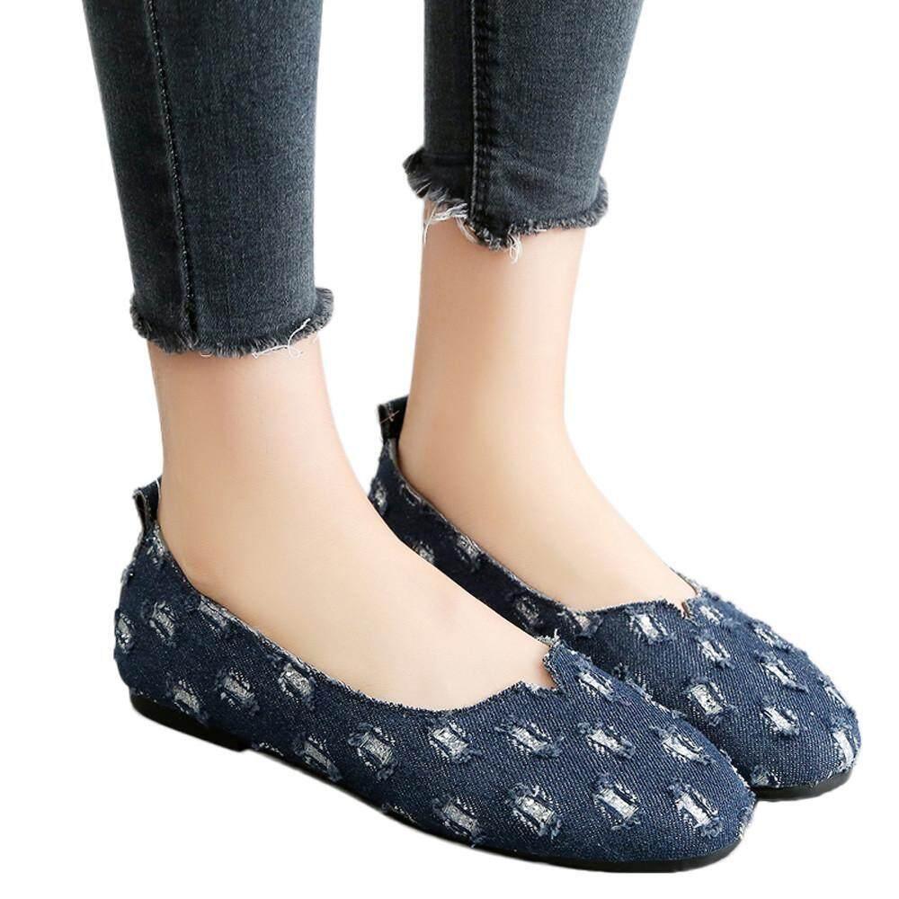 (kohlershop)-Women Round Toe Denim Slip-On Shallow Shoes Flat Single Shoes Peas Boat Shoes By Kohlershop.