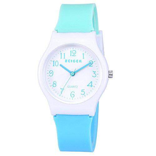 zeiger Zeiger New Children Kids Watch, Young Girls Teen Student Time Teacher Watch Resin Band(Mint/Sky Blue) Malaysia