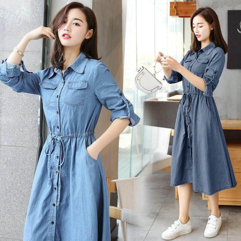 996f75dda Korean Style Women Slim Fit A-line Dress Women Denim Shirt Dress Long  Sleeve Jeans