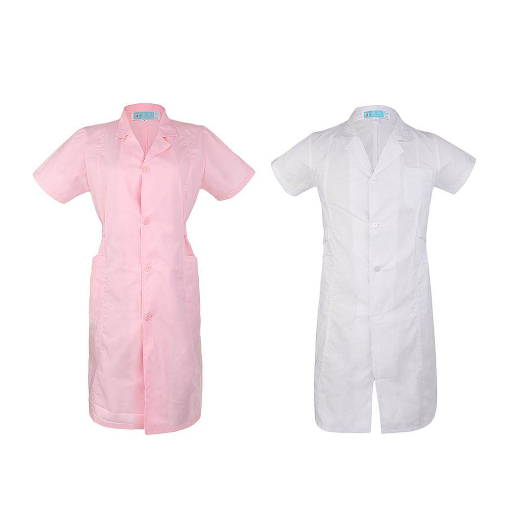 Miracle Shining Women Ladies Short Sleeve Scrubs Lab Coat Medical Nurse Doctor Coat Uniform