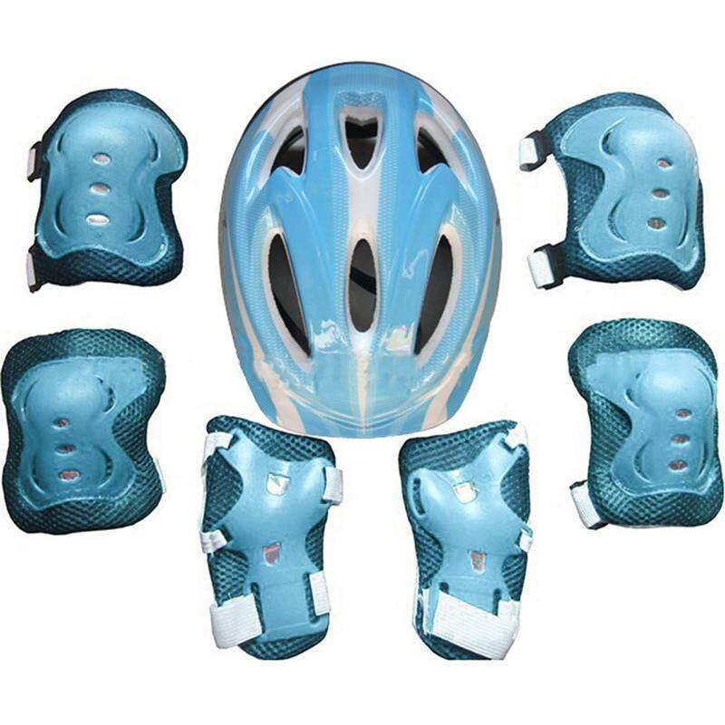 Bzy 7pcs/set Childrens Kids Skate Cycling Bike Safety Helmet Knee Elbow Pad Set For Boys And Girls By Beautyzy.