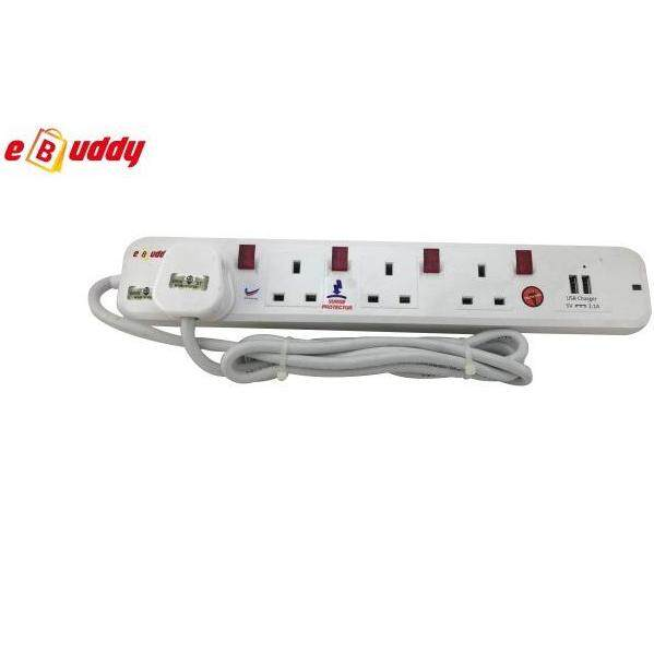 EBUDDY LBS2024U 4 Way Neon Extension Trailing with USB Sockets Outlets (2 Meter)