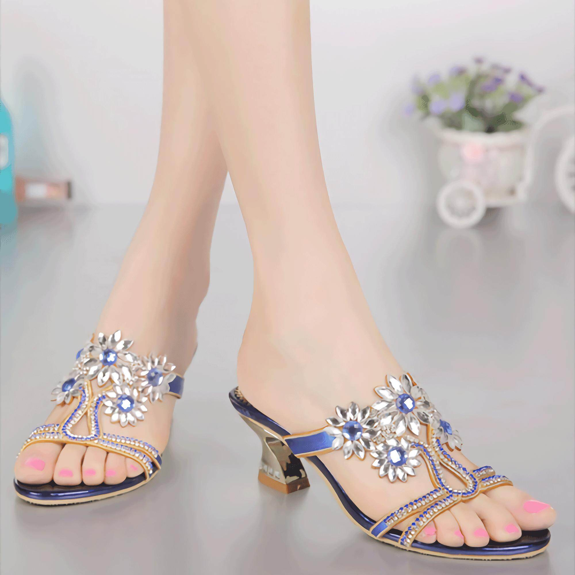 f33eff24b24 Summer Fashion High Heels Women Shoes Rhinestone Microfiber mules for Ladies  Horseshoe Heel Shoes Plus Size