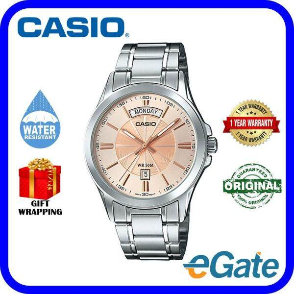 ( 2 YEARS WARRANTY ) Casio MTP-1381D-9AV Analog Men Date Day Functioning Stainless Steel Strap Original Watch (MTP-1381D) Malaysia