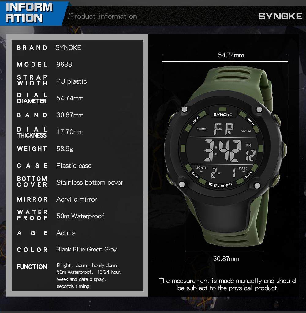 SYNOKE Brand Watch Dial Watches Electronic LED Digital Fashion Male Sport Wrist Watches 9638 Malaysia