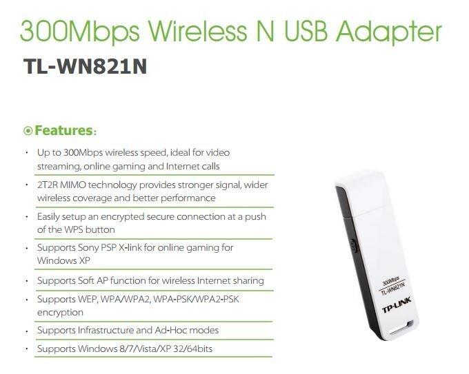 TP-Link TL-WN821N 300Mbps Wireless N WiFi USB Adapter