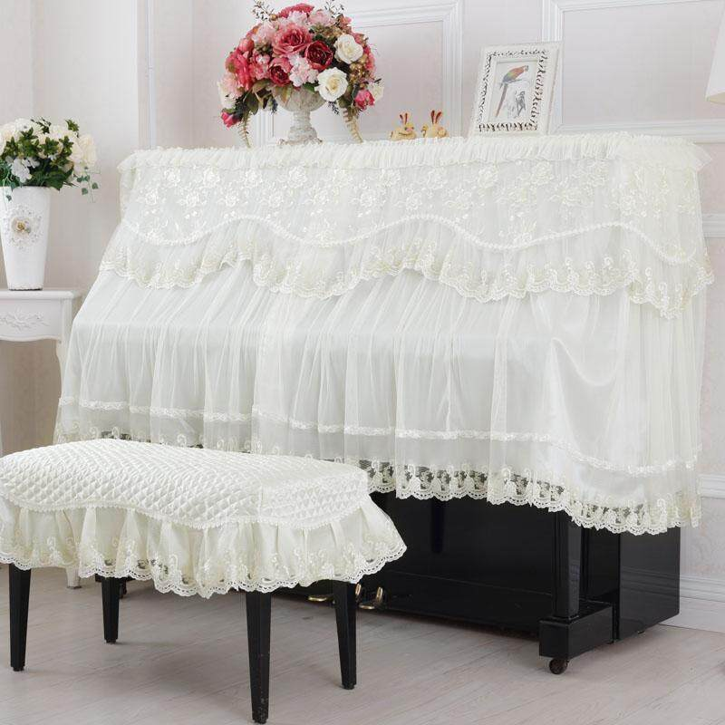 Embroidered semi-continental dustproof piano bench hunched over piano cover cloth Malaysia