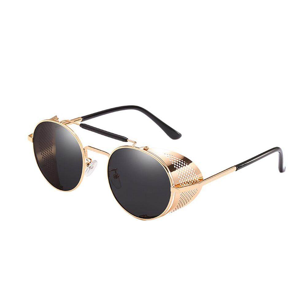 829074cd4ed Qimiao Woman Steampunk Sunglasses Retro Colorful Film Reflective Frog  Street Fashion Sunglasses Lenses Color Gold