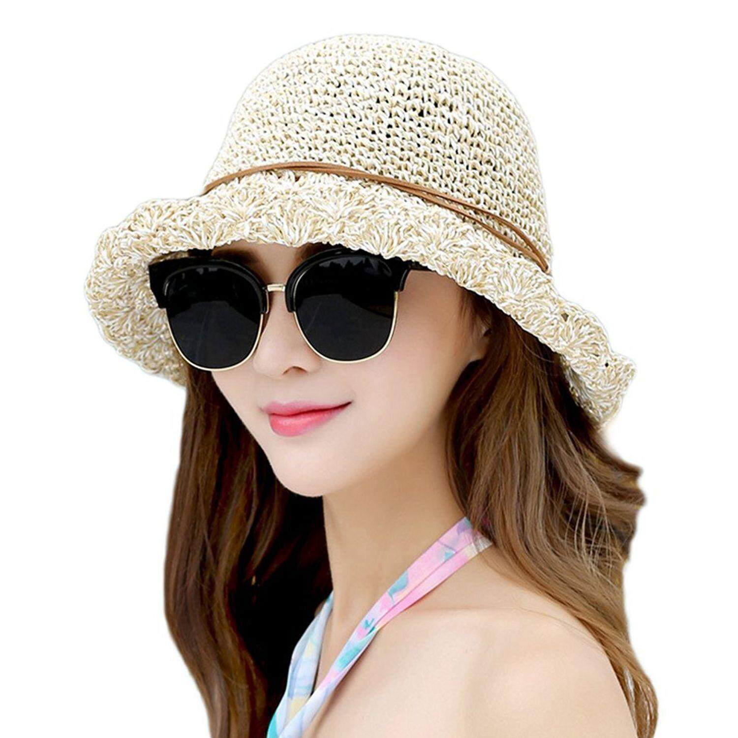 2022b0307f6 Sun Hat Bucket Girls Lady Beach Straw Hat Summer Sun Protection Packable  Foldable Cap Bow-