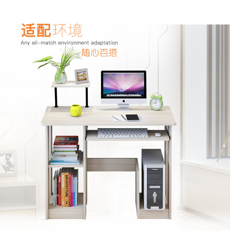 Wooden Computer Desk with 2-Tier Shelves + Free Foldable ...