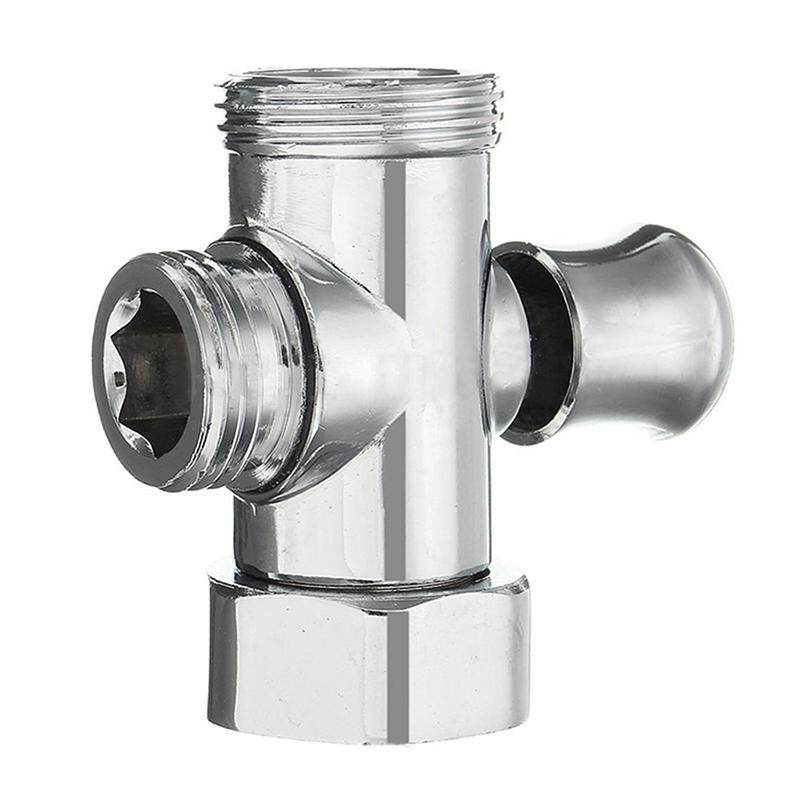 3-Way T-adapter Shower Diverter Valve G1/2inch & G3/4inch Connector Chrome color