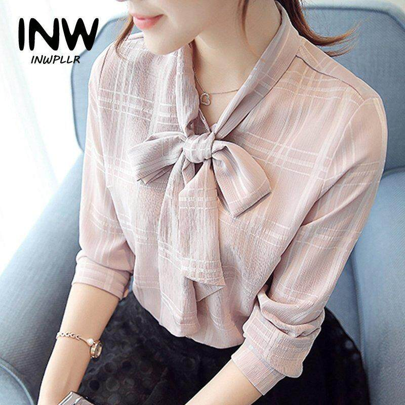 4389efee6c306 INWPLLR New Fashion Cute Bow V-neck Plaid Blouse Chiffon Tops Autumn Long  Sleeve Blouses