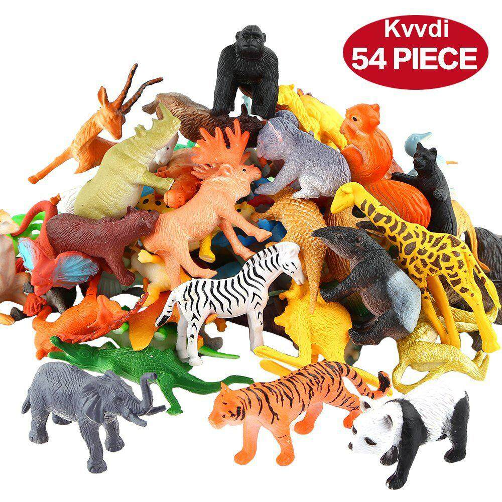 Kvvdi Animals Figure,54 Piece Mini Jungle Animal Toys Set, Realistic Wild Vinyl Plastic Animal Learning Party Favors Toys For Boys Girls Kids Toddlers Forest Small Animals Playset Cupcake Topper