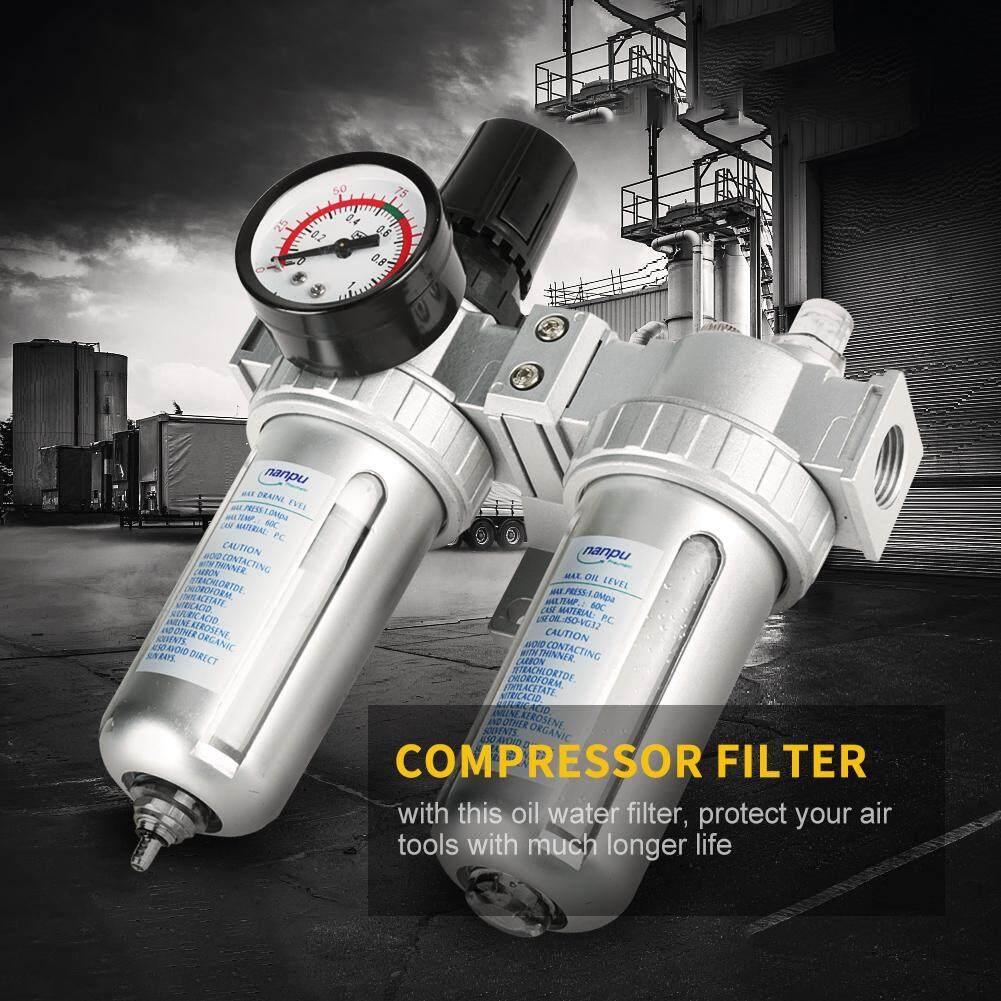 1/2 Air Pressure Compressor Filter Gauge Trap Oil Water Regulator Tools Kit