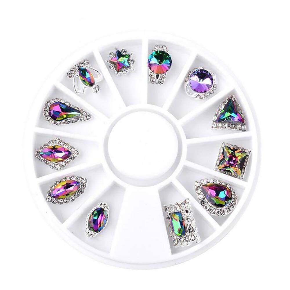 Womdee Round Shape Rectangle Women Ladies 3D Decal Stickers Acrylic Nail Art  Gems Crystal Rhinestones DIY 15338d097f3f