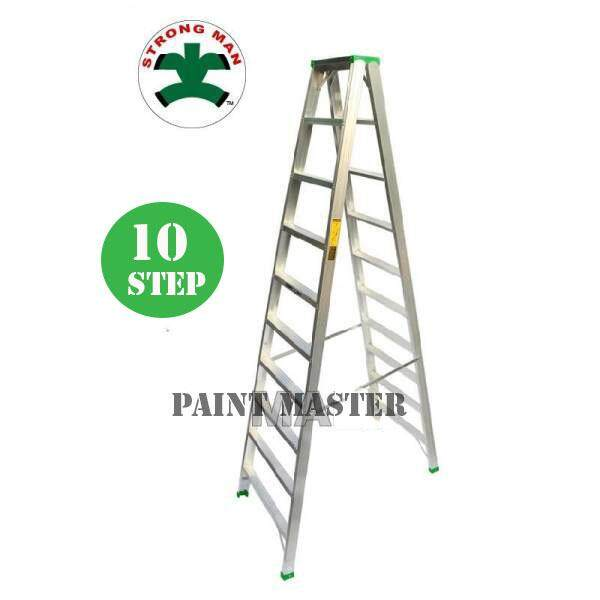 STRONGMAN Aluminium Double Sided Ladder 10 Steps [ Max Reachable Height 387.6cm ]