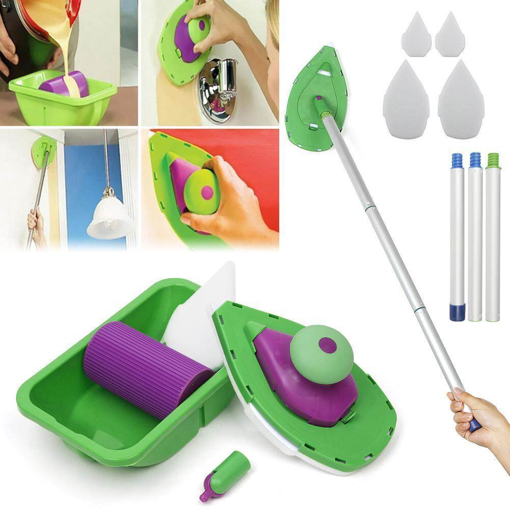 HOT! Point And Paint Roller and Tray Set Household Painting Brush Decorative Tools and sticks+4pcs Paint Sponge