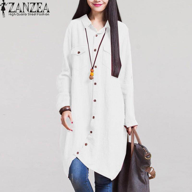 7804ba5d160905 ZANZEA Women Autumn Vintage Lapel Cotton Long Shirts Casual Loose Full  Sleeve Irregular Blouses Tops Plus