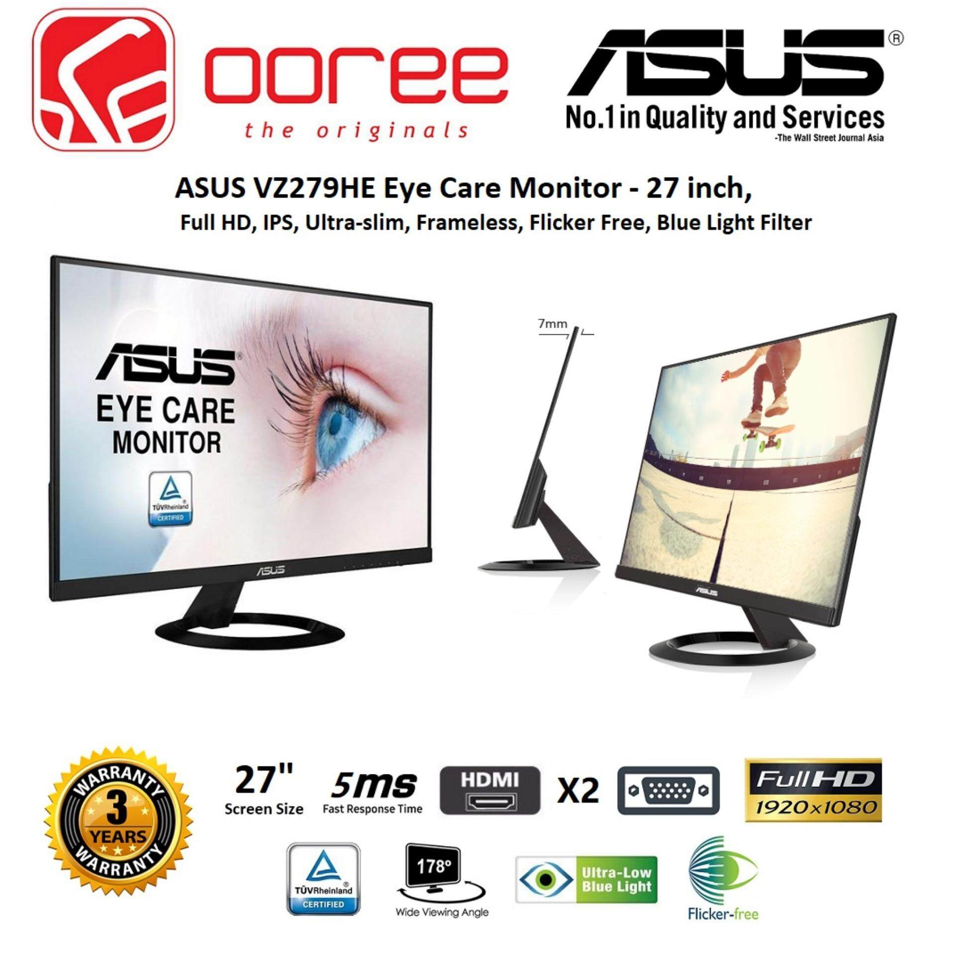 GENUINE ASUS LED FLAT FRAMELESS ULTRASLIM IPS FHD  27 VZ279HE LCD MONITOR (5MS/VGA/HDMIx2/VESA) BLACK Malaysia