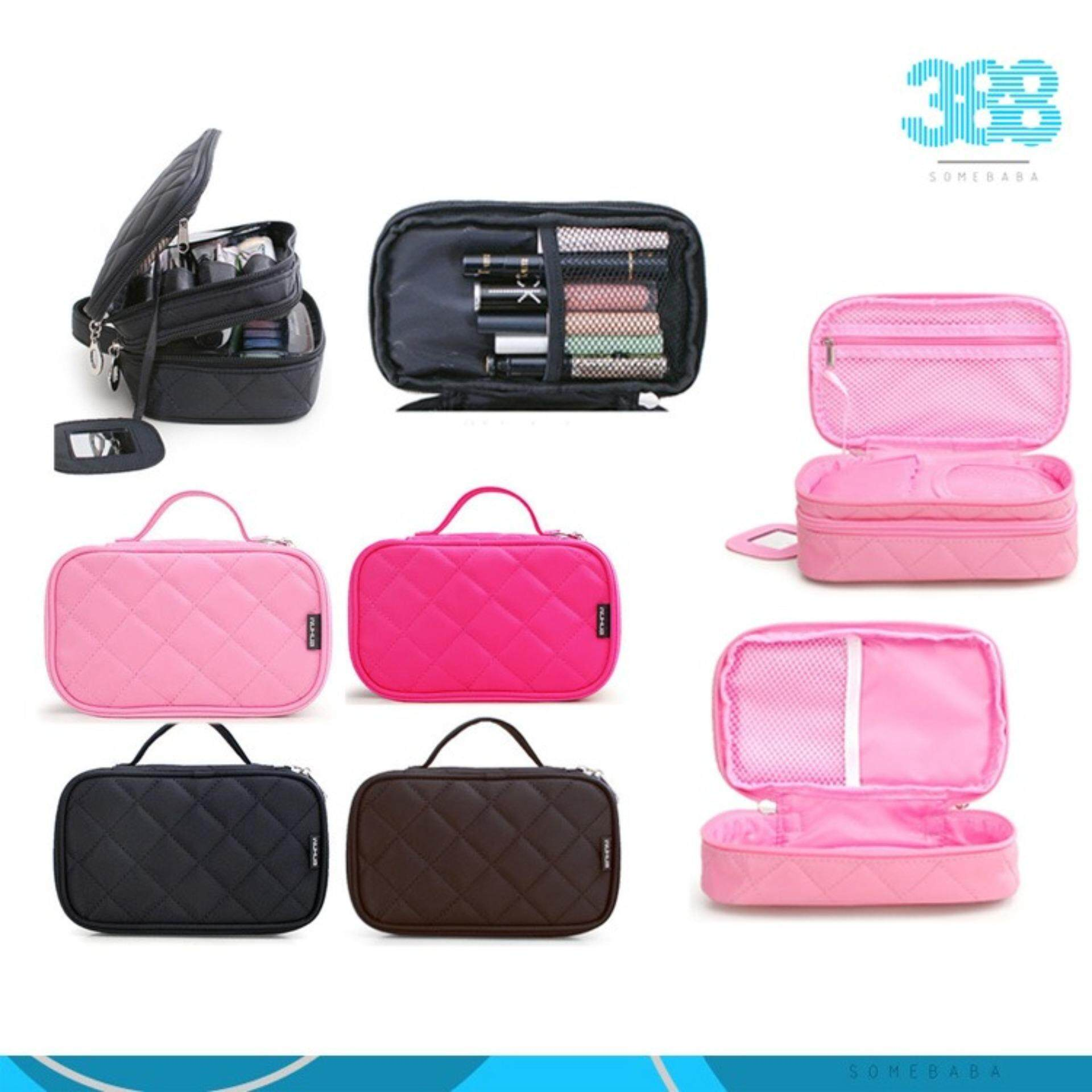90f17a46a22b  Black Multifunctional 2 layer Cosmetic Bag Beauty Kit Organizer Cosmetic  Travel Bag