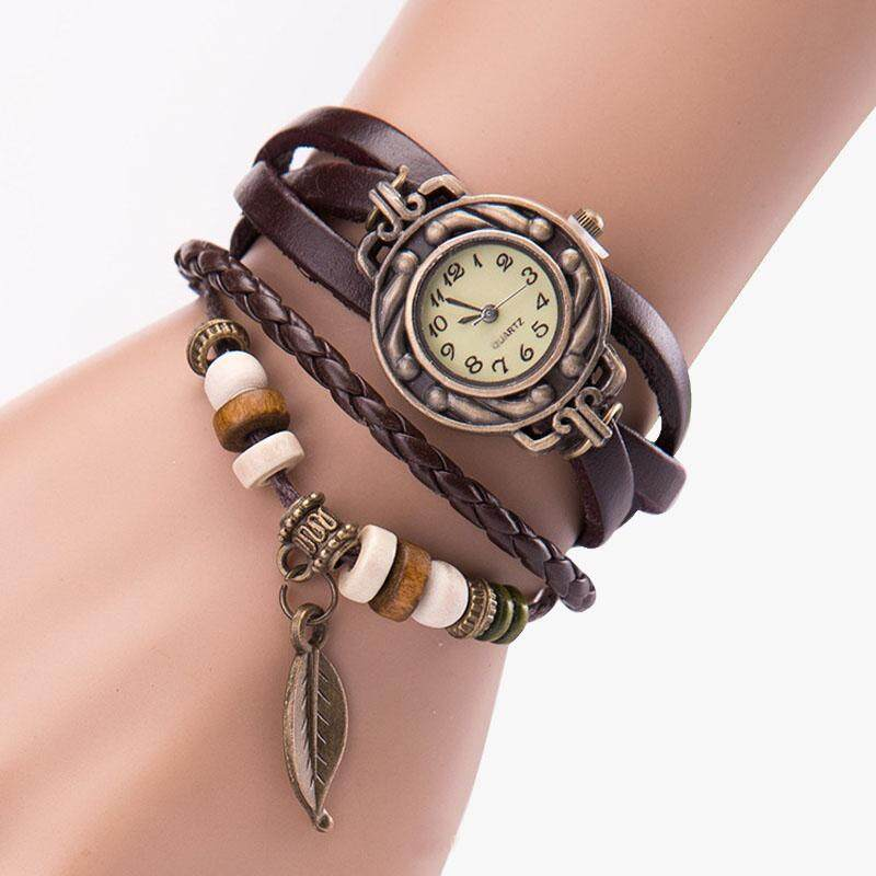 Women Girl Vintage Watches, Bracelet Wristwatches leaf Pendant Coffee Malaysia