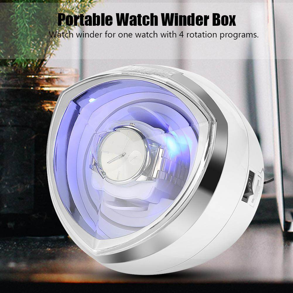 Portable Watch Winder Box Display Cases Automatic Rotating Blue LED Lighting US Plug Malaysia