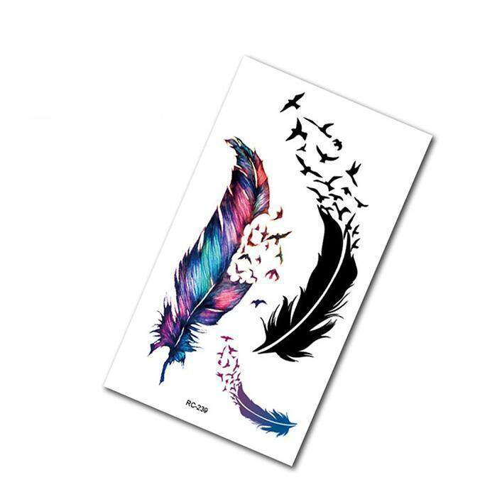dbb676c81 Cyber Waterproof Colorful Feather Body Decal Stickers Body Temporary Tattoo  Stickers