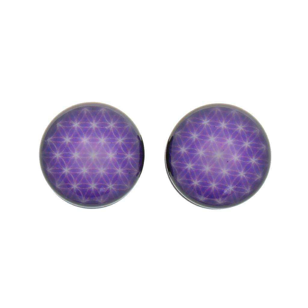 Bolehdeals 1pair Acrylic Purple Net Flesh Tunnel Ear Plug Earring Expander 16mm By Bolehdeals.
