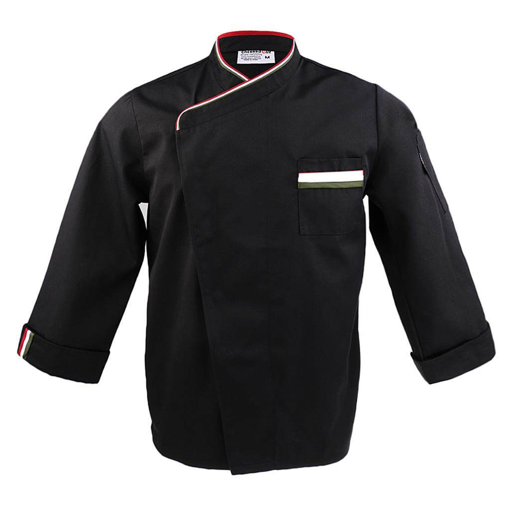 MagiDeal Mens Womens Long Sleeve Chef Jacket Coat Restaurant Cook Uniform L Black