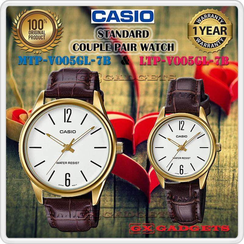 CASIO MTP-V005GL-7B + LTP-V005GL-7B STANDARD Analog Couple Pair Watch Leather Band Gold Case Water Resistant MTP-V005 LTP-V005 V005 Series Malaysia