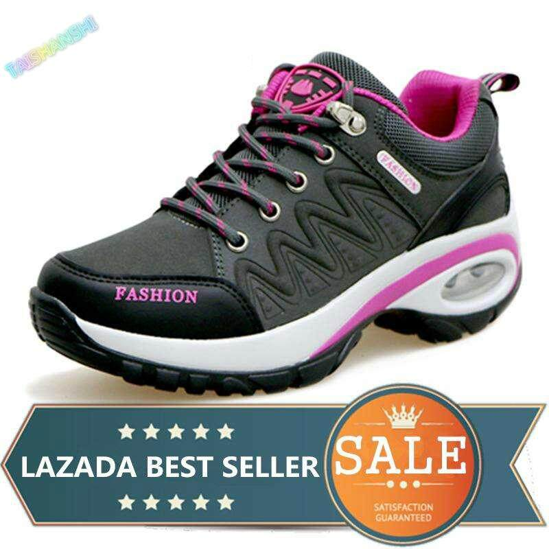 Womens Hiking Shoes Air Cushion Sneakers Heighten Casual Shoes Outdoor Sports Shoes (dark Grey) By Taishanzhishi.